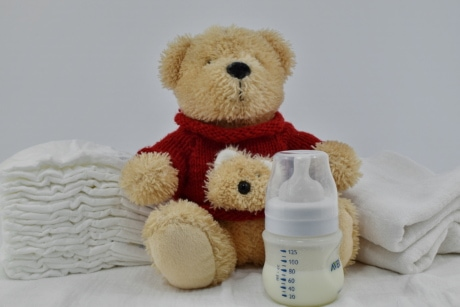 bottle, cotton, diaper, innocence, milk, teddy bear toy, toy, soft, gift, bear
