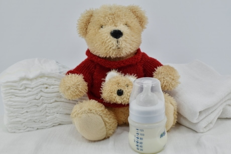 diaper, milk, newborn, toy, teddy bear toy, soft, gift, relaxation, indoors, towel