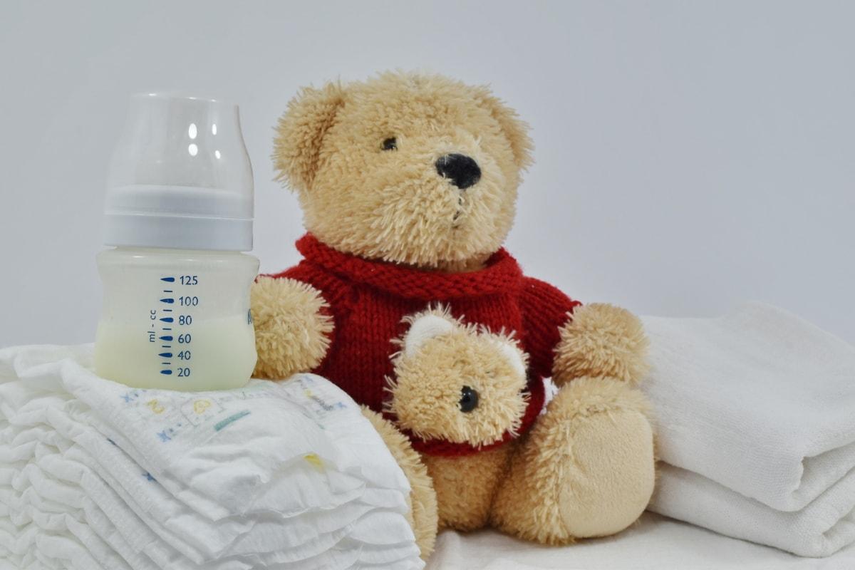 baby, diaper, milk, newborn, organic, teddy bear toy, toy, cute, bear, indoors