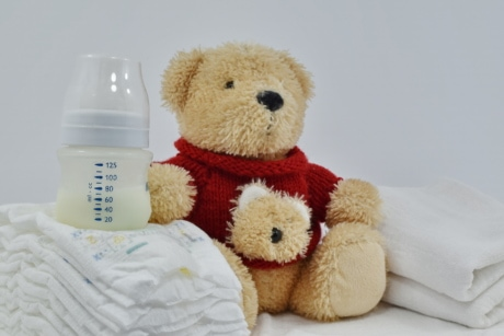 baby, diaper, milk, newborn, organic, teddy bear toy, toy, cute, bear, indoors