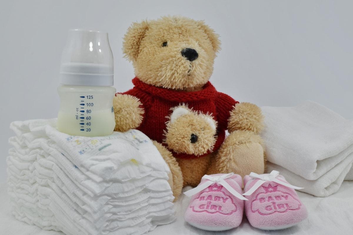 baby, cotton, diaper, milk, newborn, shoes, teddy bear toy, towel, toy, cute