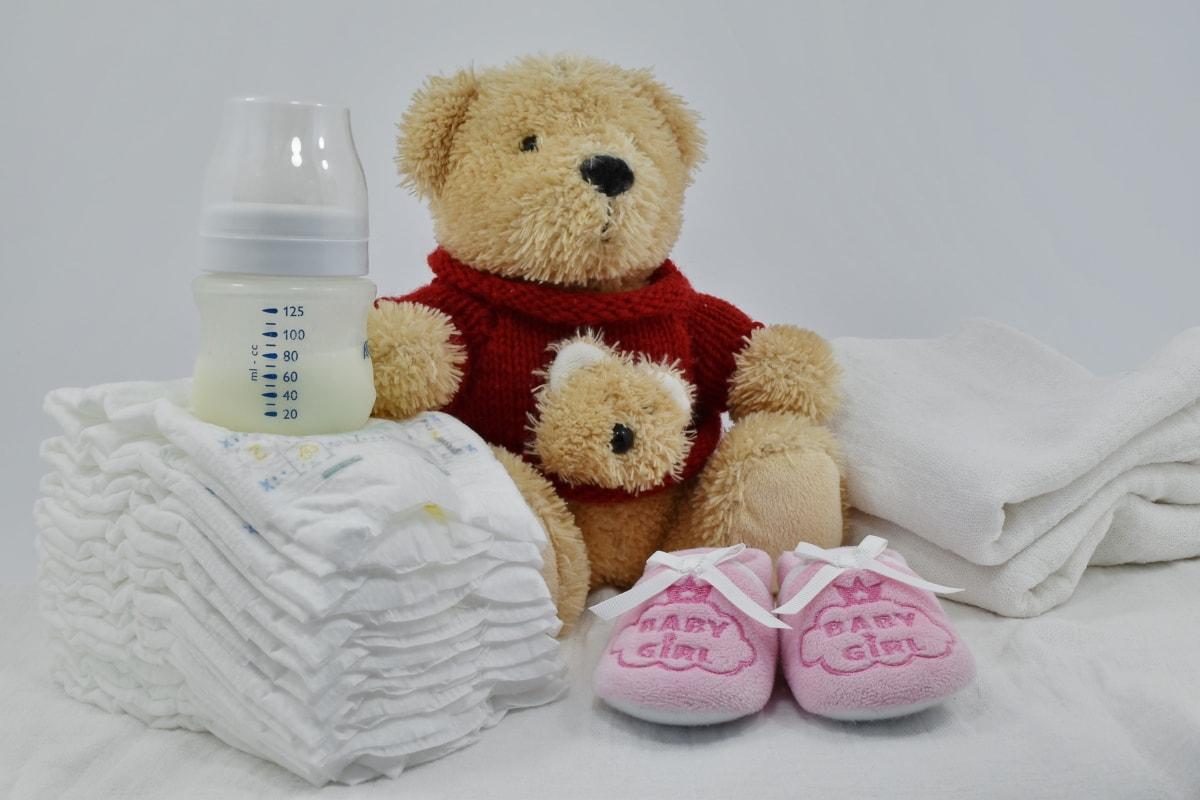bomull, dekorasjon, bleie, gave, uskyld, melk, nyfødte, leketøy, søt, bamse leketøy