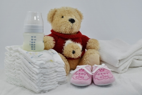 cotton, decoration, diaper, gift, innocence, milk, newborn, toy, cute, teddy bear toy