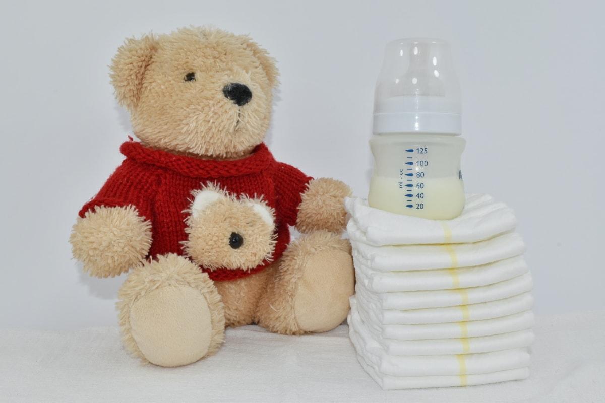 baby, diaper, hygiene, knitting, milk, newborn, plush, teddy bear toy, toy, wool