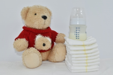 baby, diaper, hygiene, knitting, milk, newborn, plush, teddy bear toy, toy, wool
