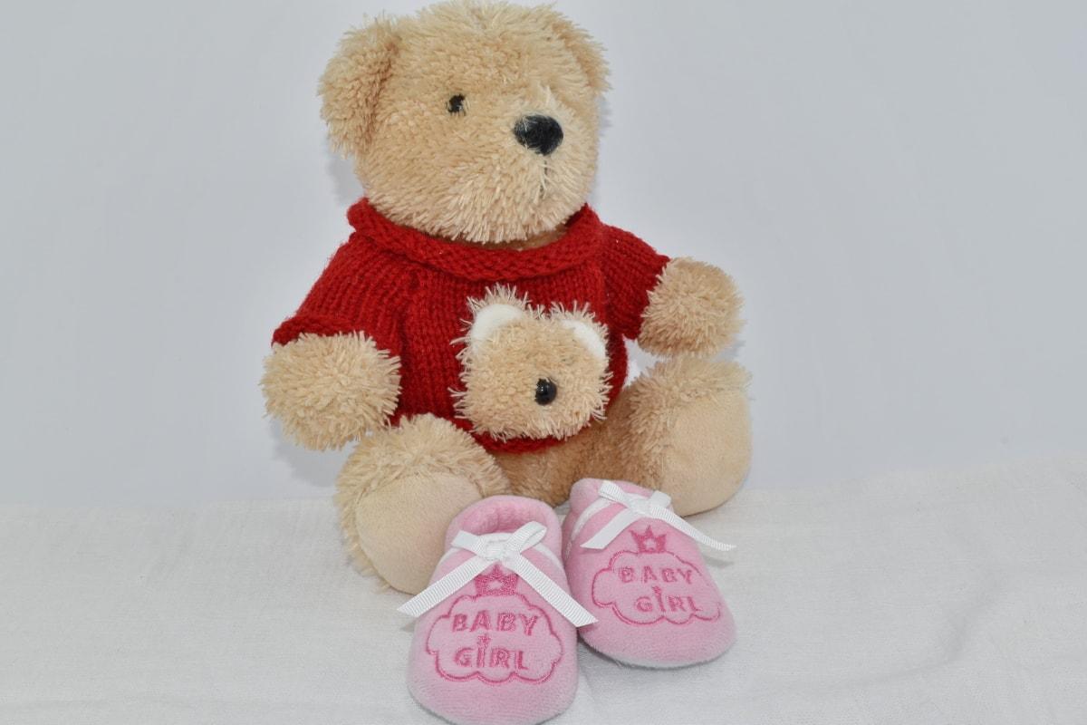 baby, knitwear, light brown, pink, shoes, sweater, teddy bear toy, toy, bear, winter