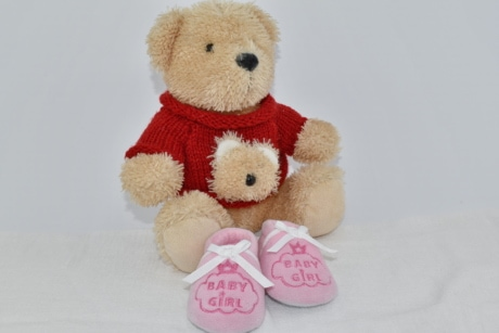 baby, knitwear, light brown, pink, shoes, sweater, teddy bear toy, toy, bear, winter