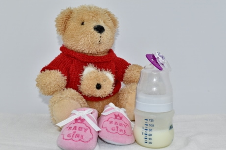 baby, bottle, milk, newborn, plush, shoes, teddy bear toy, cute, toy, traditional