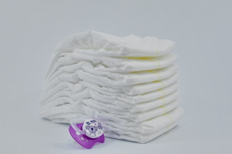 diaper, hygiene, object, plastic, purple, white, still life, canvas, cotton, textile