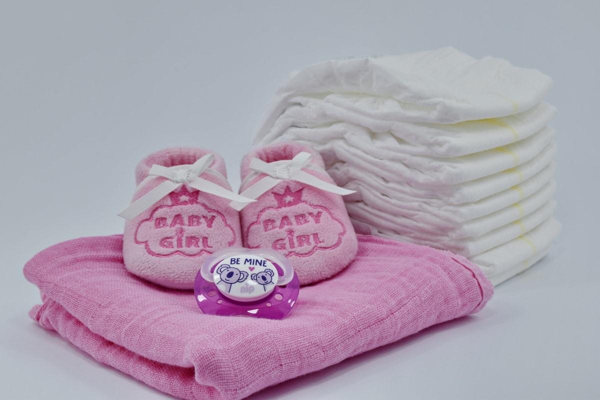 baby, cotton, diaper, linen, newborn, pinkish, shoes, towel, comfort, still life