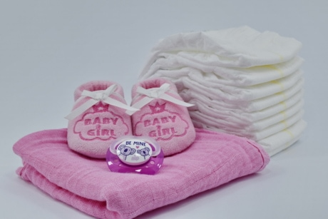 baby, cotton, diaper, linen, newborn, pinkish, shoes, towel, comfort, still life