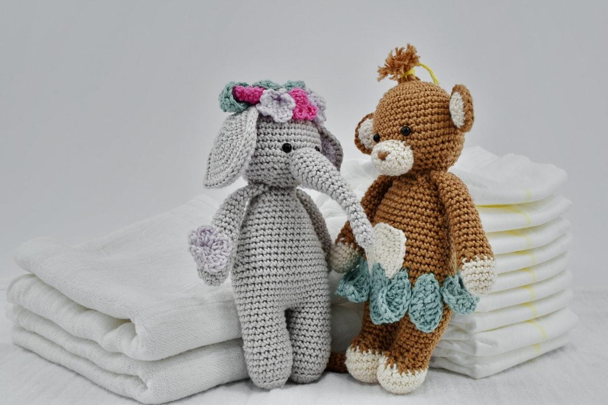 cotton, diaper, handmade, knitting, teddy bear toy, toys, doll, toy, wool, cute