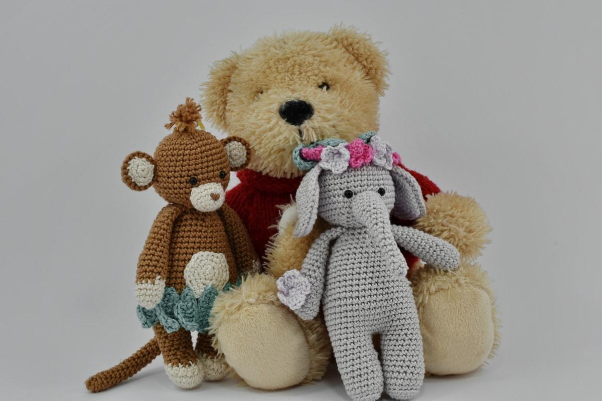 nuket, käsintehty, neulonta, kolme, villaa, nallekarhu lelu, Söpö, lahja, nukke, lelu