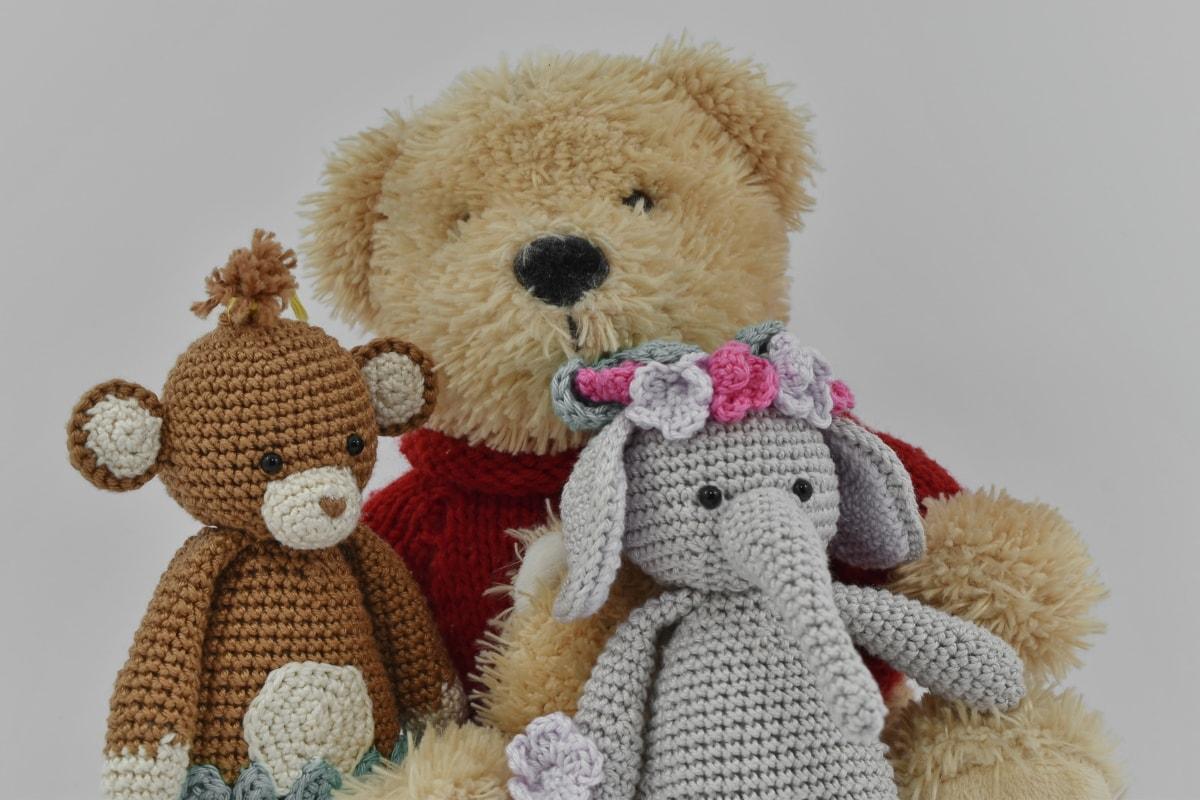 decoration, dolls, handmade, miniature, plush, stuffed, teddy bear toy, three, wool, gift