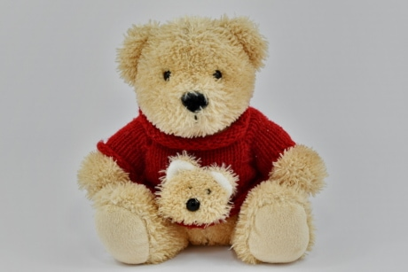 cloth, craft, handmade, knitwear, red, sweater, toy, teddy bear toy, cute, gift