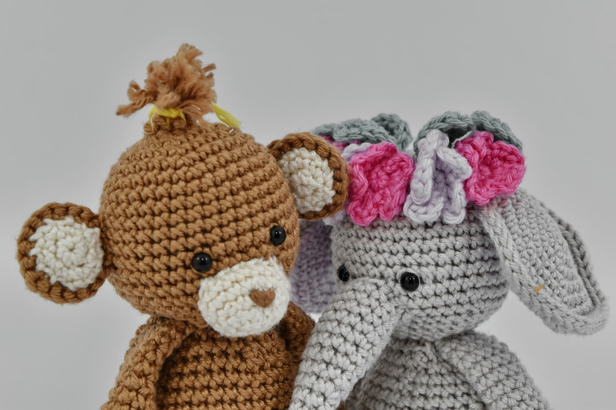 gifts, knitwear, miniature, pair, small, toys, wool, bear, toy, teddy bear toy