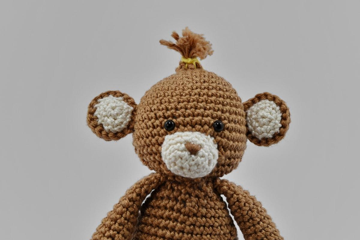 handmade, head, light brown, miniature, plush, portrait, still life, teddy bear toy, toy, wool