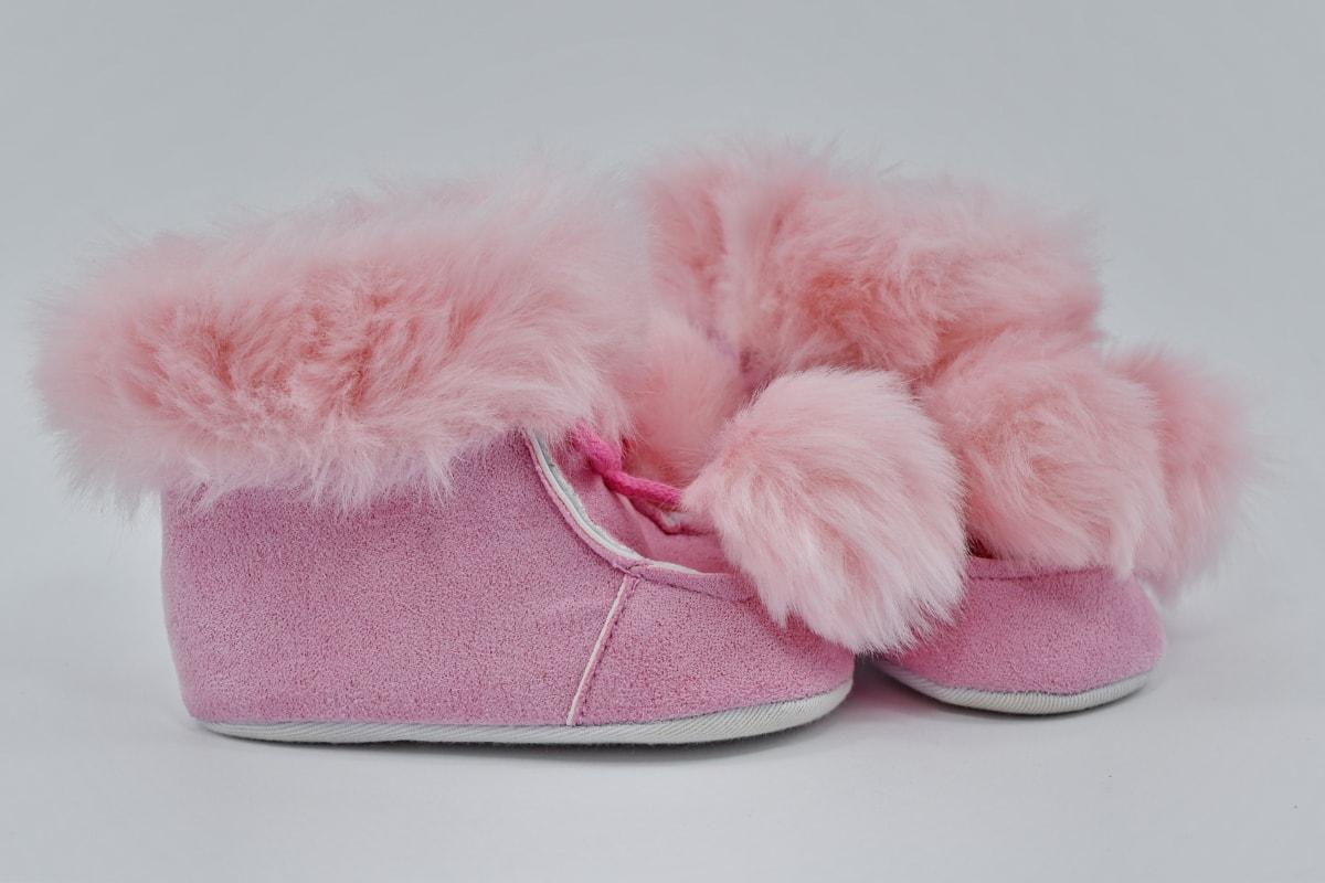 신발, 불 그, 작은, 모피, 패션, 발, 아기, 귀여운, 편안 함, 실내