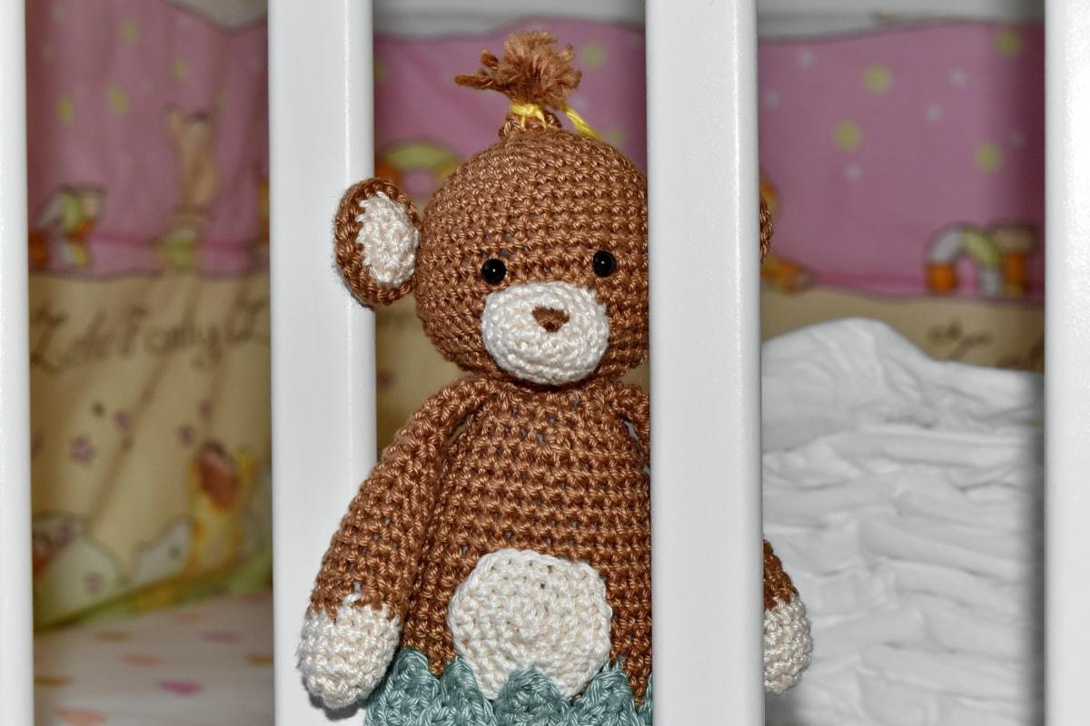 dziecko, łóżko, sypialnia, Dzianina, nadziewane, zabawka pluszowego misia, Zabawka, Wełna, Niedźwiedź, Projektowanie wnętrz