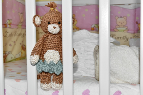 baby, bed, bedroom, diaper, teddy bear toy, towel, toy, cute, indoors, girl