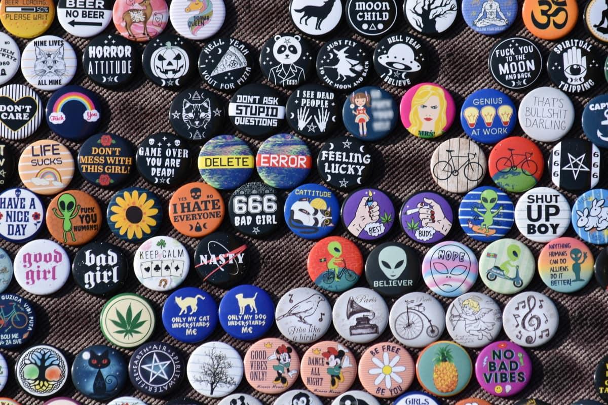 šareno, mnogi, dijelovi, mali, modni, zbirka, simbol, uzorak, retro, dizajn