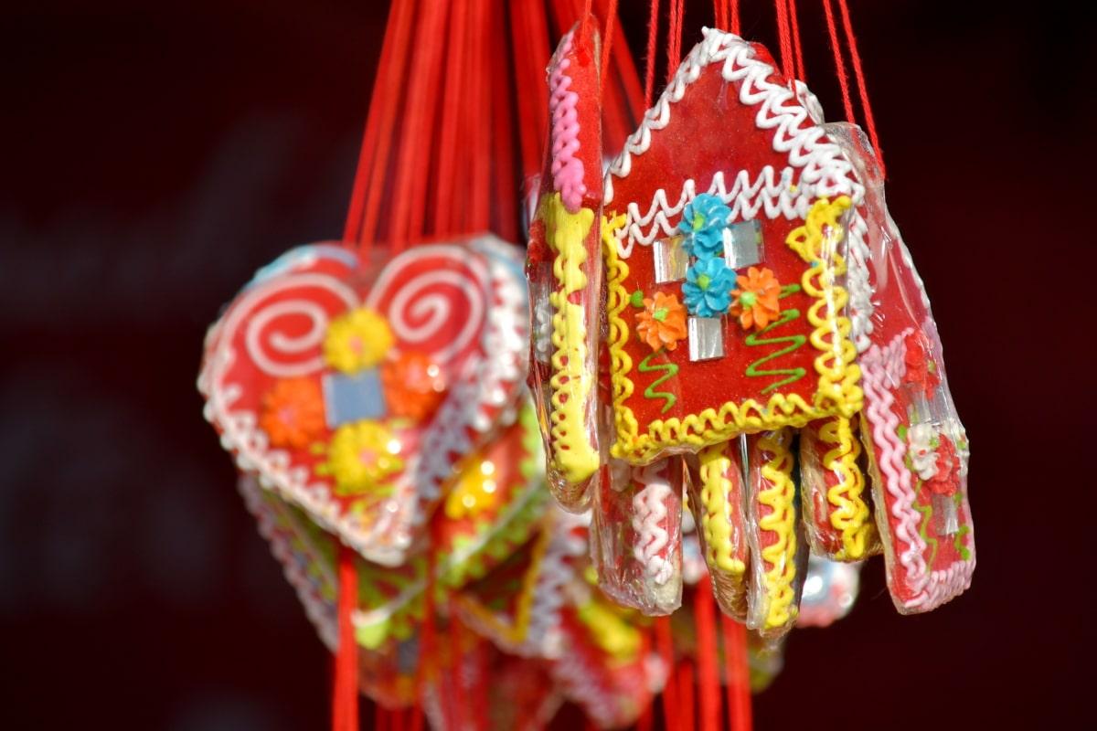 doces, delicioso, presentes, feito à mão, caseiro, corda, doce, tradicional, de suspensão, decoração