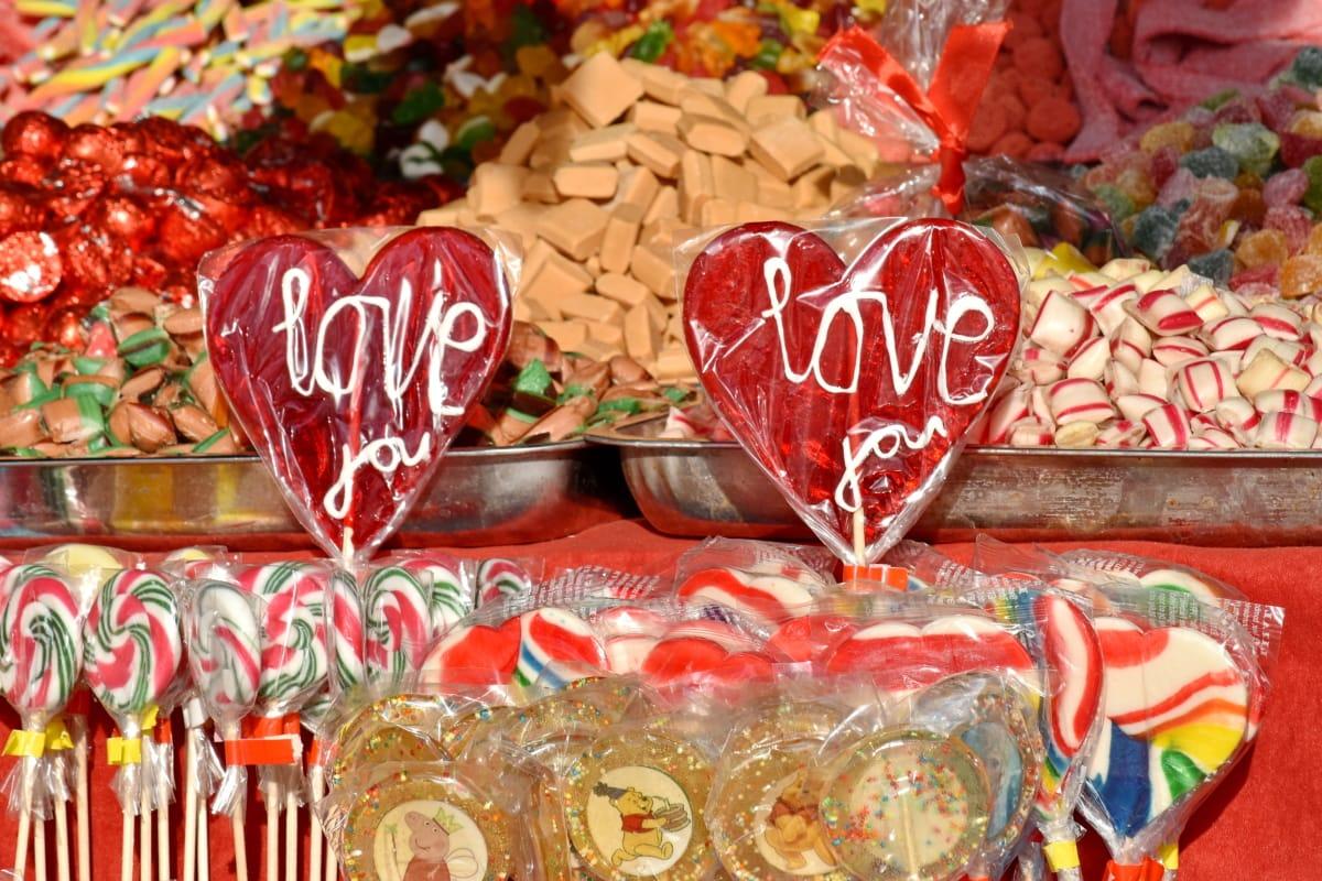 bomboane, bomboane de ciocolată, marfa, Magazin, dulciuri, zahăr, decor, produse de cofetărie, inima, sărbătoare
