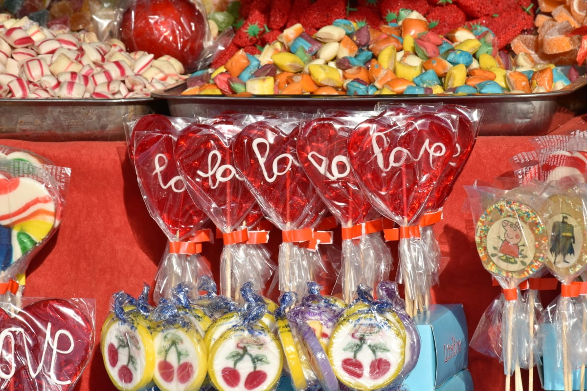 candy, shop, confectionery, sugar, traditional, bright, food, color, many, handmade