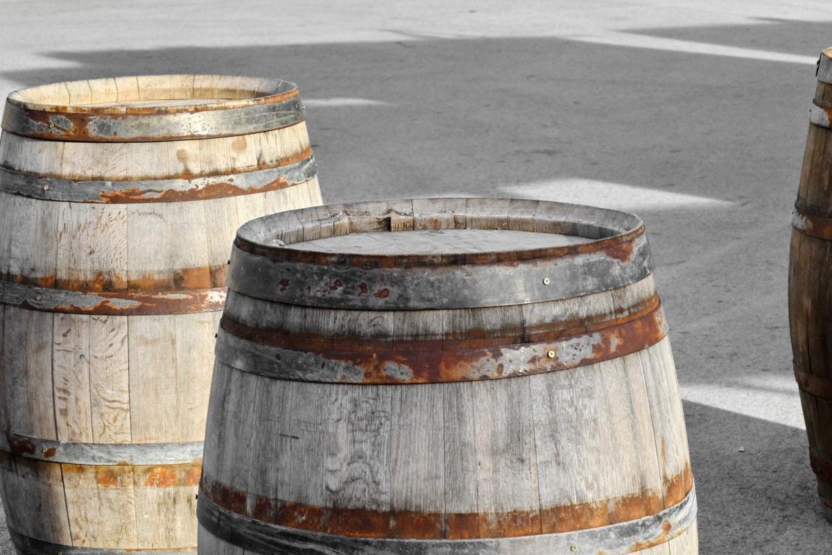 barrel, handmade, wooden, old, container, wood, vintage, retro, barrels, concrete