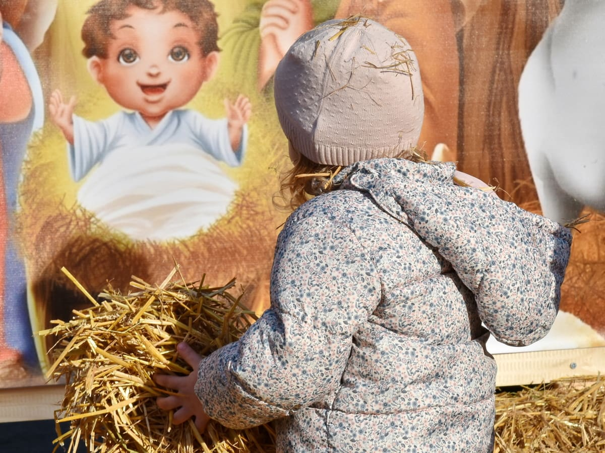 activity, celebration, child, christmas, playful, straw, young, hay, girl, people