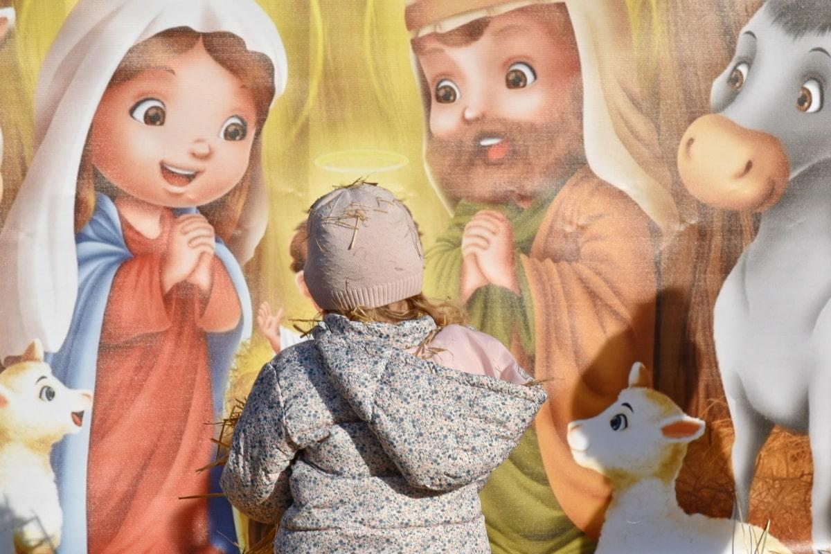 gyermek, Karácsony, dekoráció, Szalma, lány, szórakozás, cuki, beltéri, portré, boldog