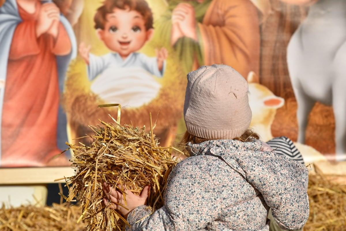 niño, Navidad, decoración, diversión, paja de, hay, al aire libre, naturaleza, chica, lindo