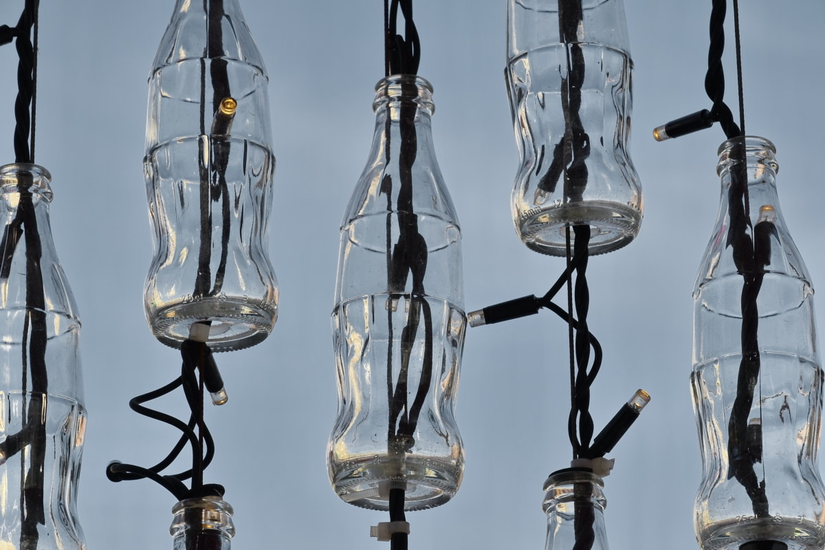 decorative, electricity, illumination, light, wires, glass, lamp, crystal, reflection, hanging