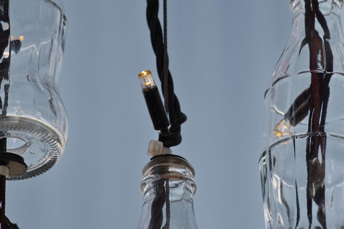 pullo, Luovuus, sähkön, lamppu, kierrätys, johdot, lasi, lamppu, energian, heijastus