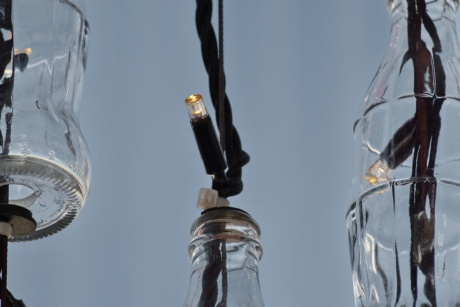 bottle, creativity, electricity, light bulb, recycling, wires, glass, lamp, energy, reflection