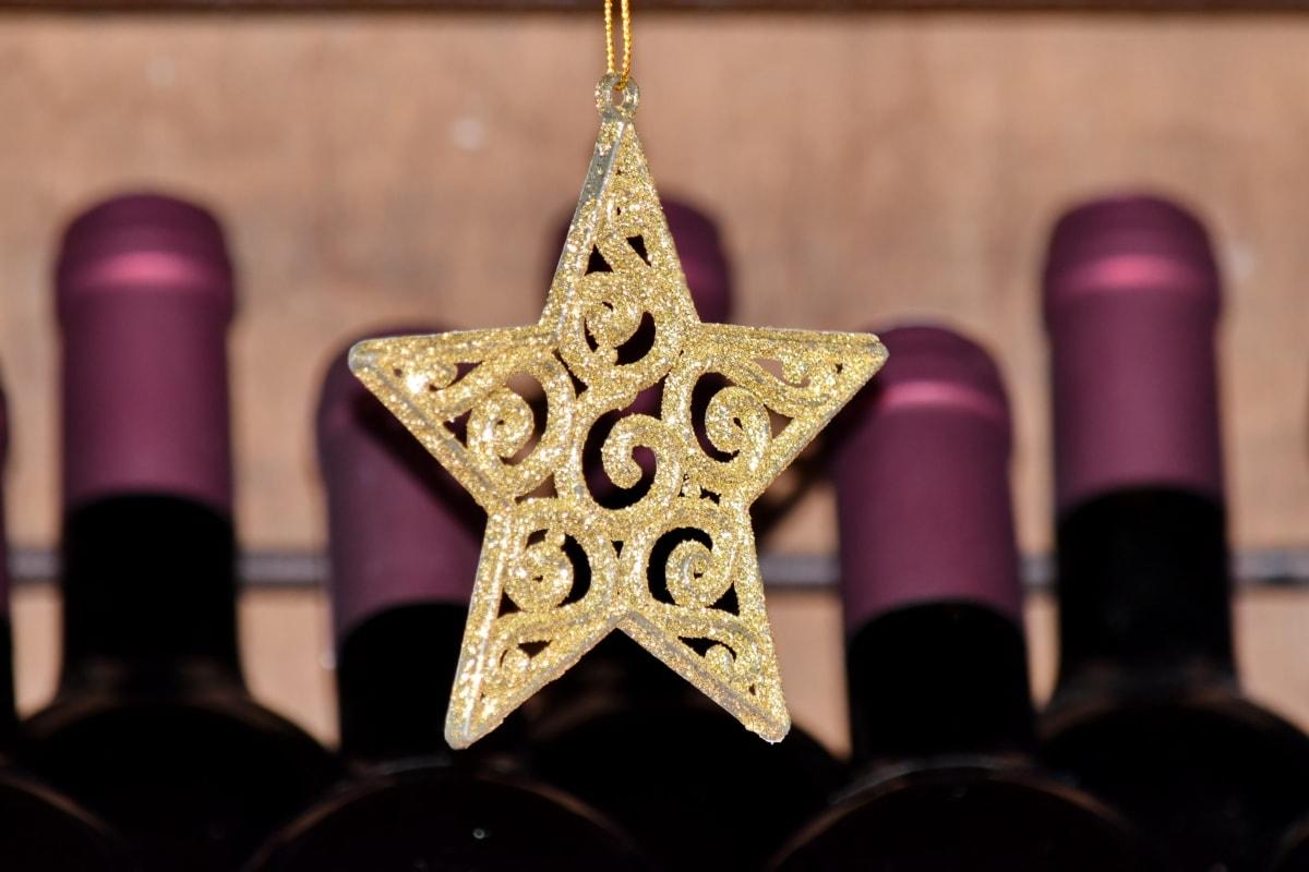 ボトル, 装飾, 黄金の輝き, 黄金の宝石, 赤ワイン, つ星, ワイン, ワイナリー, ボトル, スティル ・ ライフ