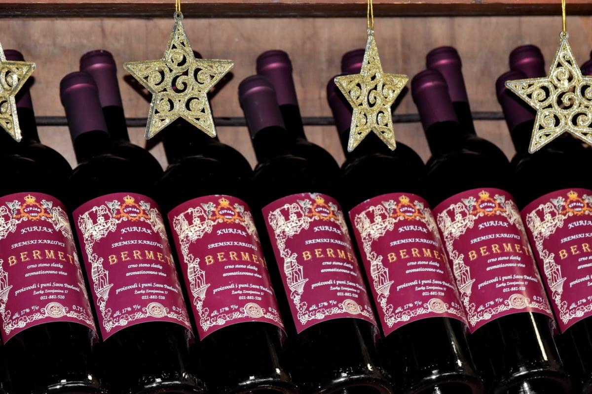 decoration, red wine, stars, winery, drink, bottle, wine, still life, barrel, vintage
