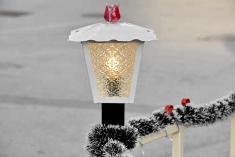christmas, decoration, electricity, fence, lamp, winter, nature, traditional, shining, bright