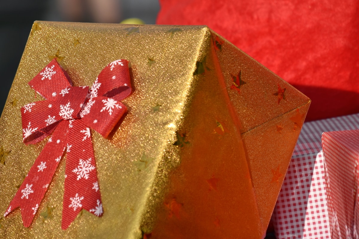 box, gift, golden glow, holiday, spark, christmas, container, celebration, shining, surprise