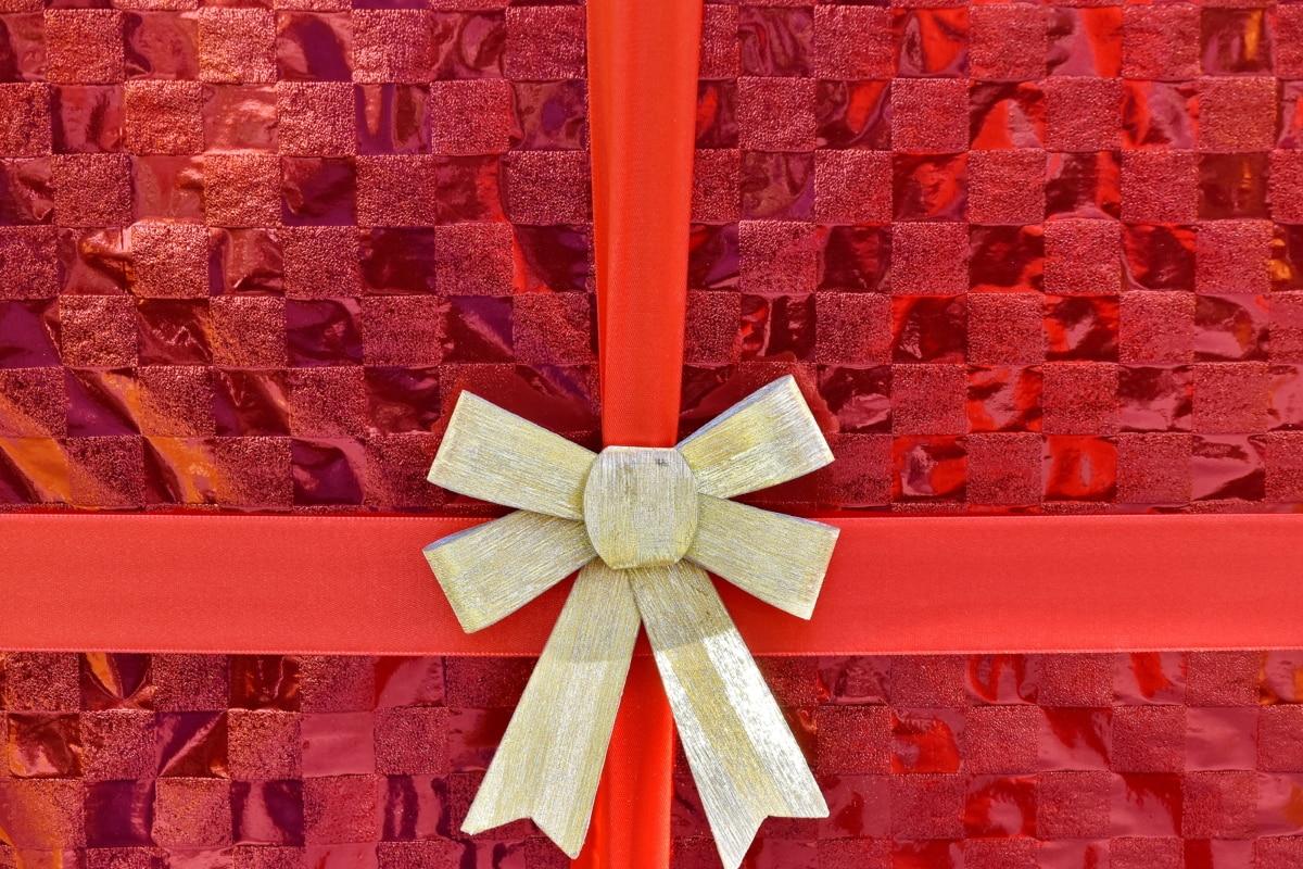 boksen, feiring, dekorasjon, gave, rød, båndet, skinner, hjul, ferie, Christmas