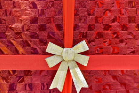 box, celebration, decoration, gift, red, ribbon, shining, wheel, holiday, christmas