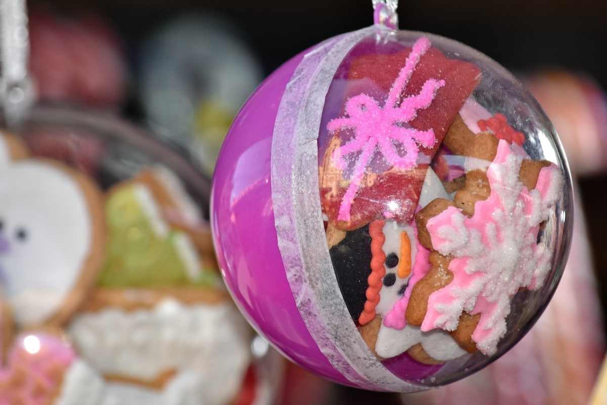 candy, celebration, christmas, cookies, food, pink, sphere, traditional, decoration, sugar