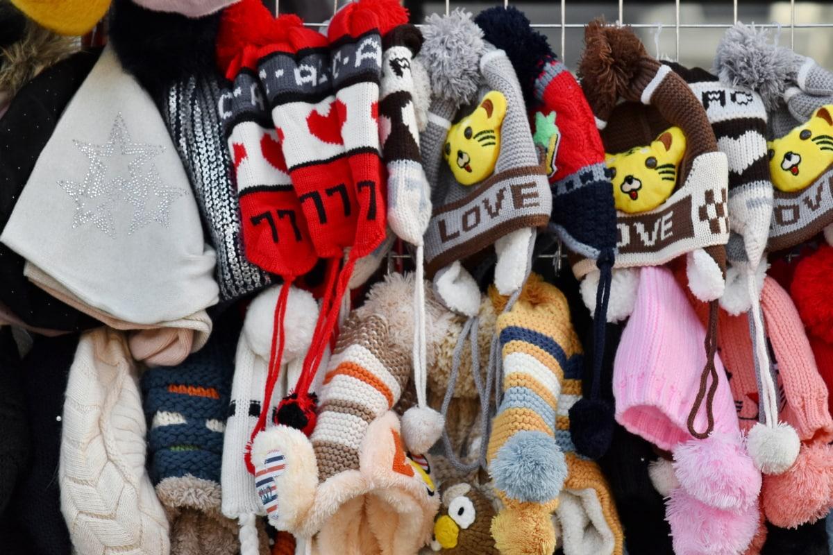 buatan tangan, topi, pakaian rajut, barang dagangan, wol, belanja, syal, dingin, mode, Dijual