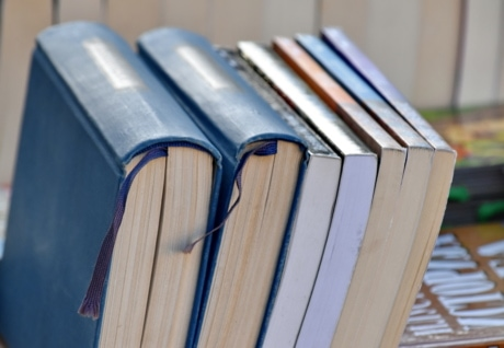 böcker, bokhandel, bokhandel, övre yta, upprätt, vertikala, litteratur, kunskap, bibliotek, utbildning