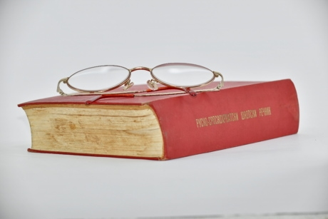 book, eyeglasses, hardcover, language, red, russian, socialism, old, still life, literature