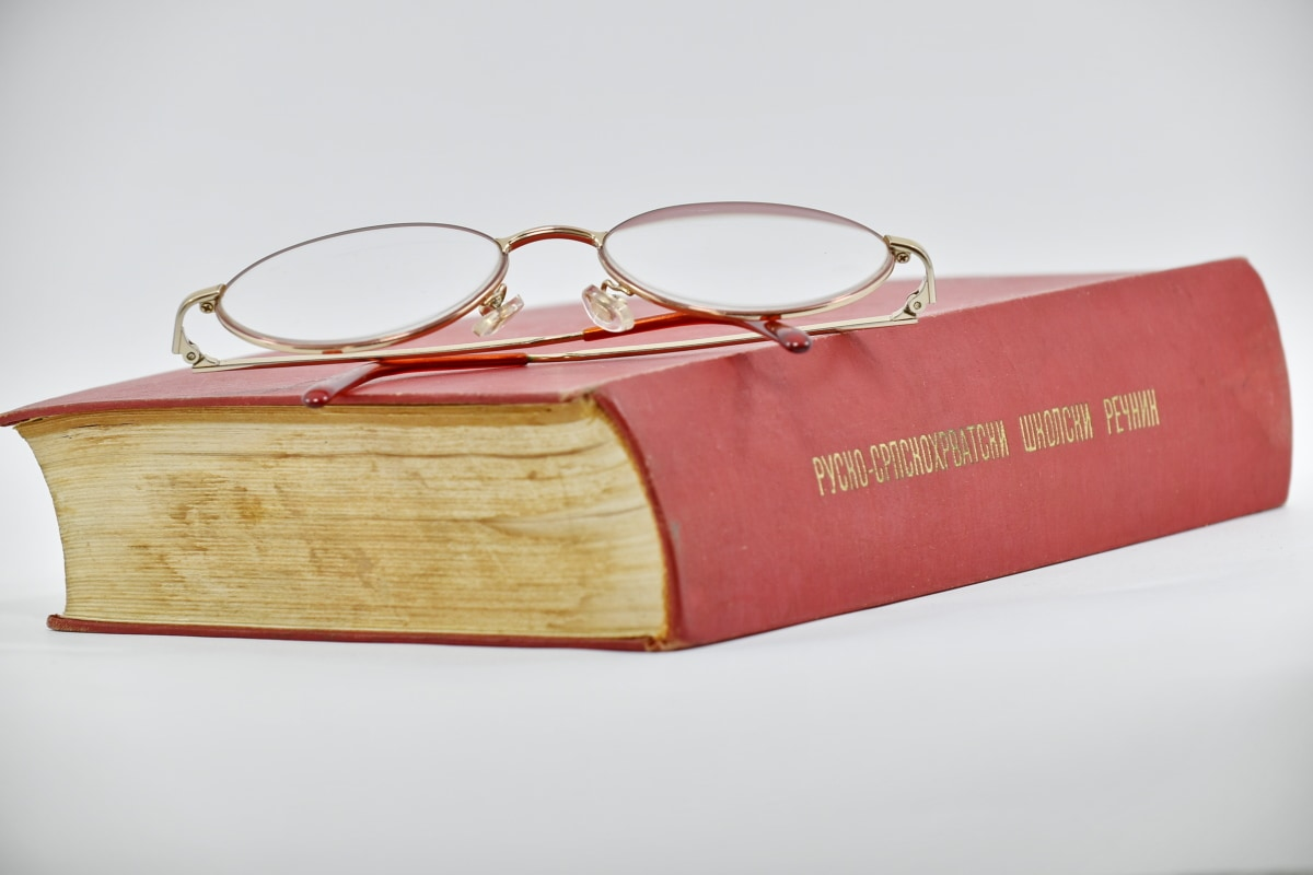 book, eyeglasses, hardcover, language, russian, upper surface, old, classic, luxury, literature