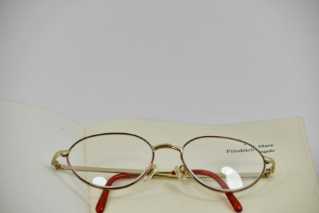 book, eyeglasses, frame, magnification, page, reflection, eyewear, retro, sunglasses, optometry
