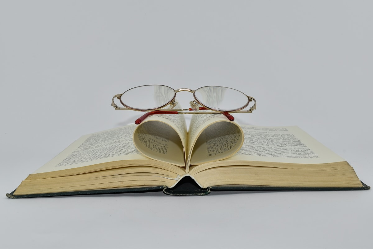 book, eyeglasses, upper surface, literature, library, wisdom, textbook, education, knowledge, page