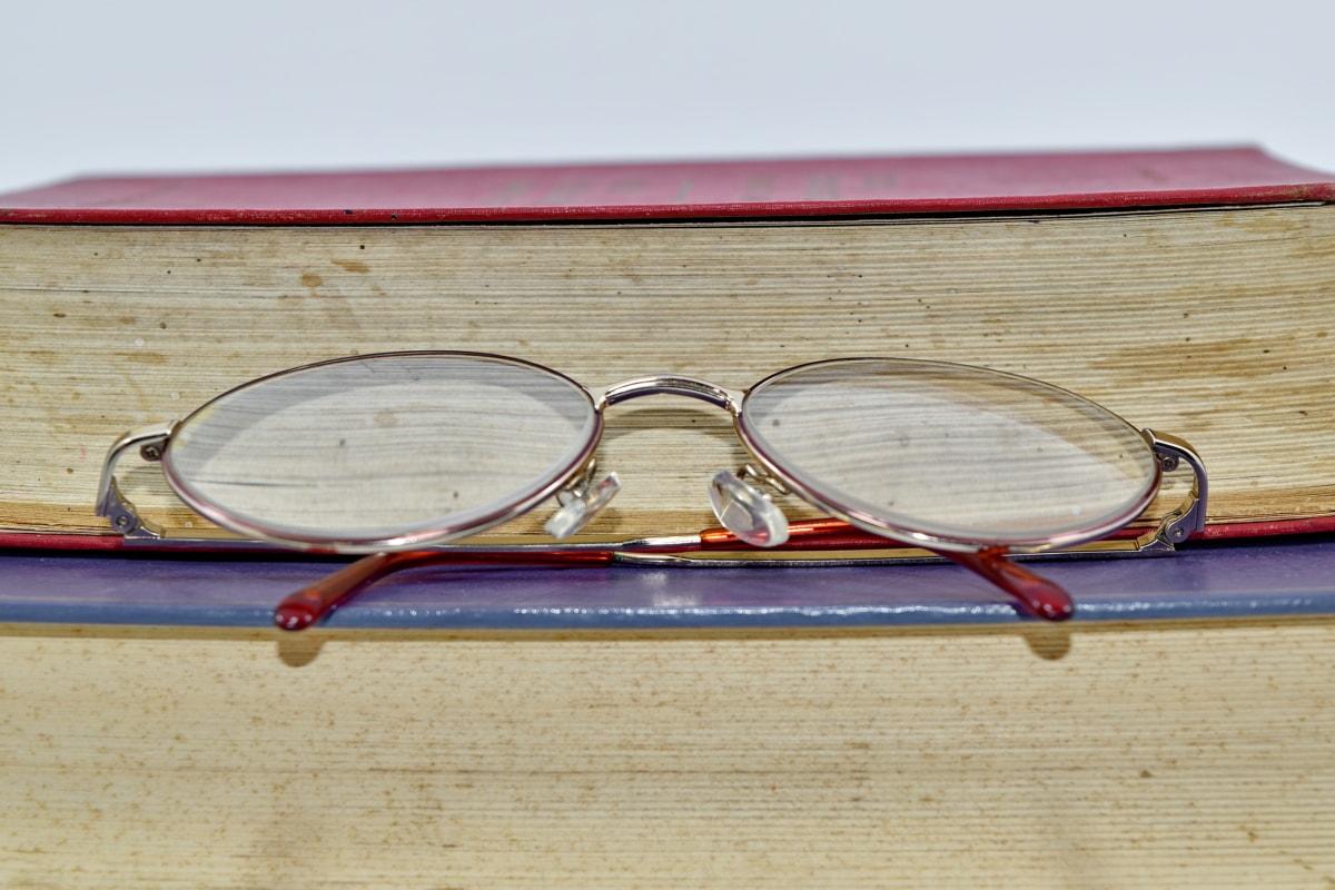 libri, da vicino, occhiali da vista, vista laterale, superficie superiore, legno, vecchio, vintage, lente, carta