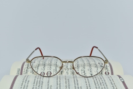 arabic, eyeglasses, language, learning, literature, symbol, text, paper, old, nature